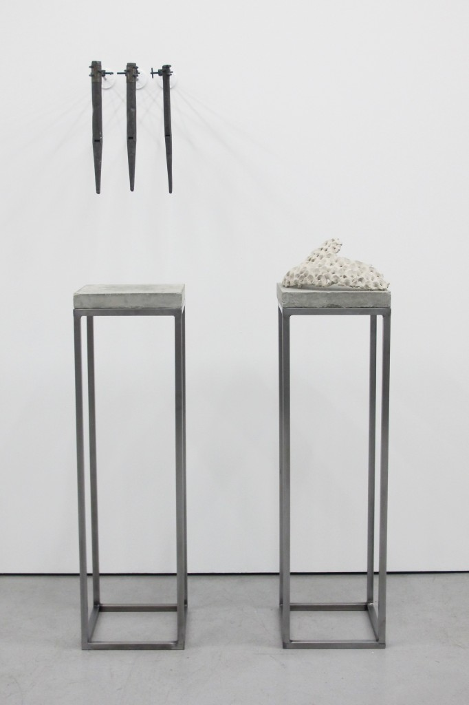 2012 Unfired clay on cement and steel; lead organ pipes, clamps